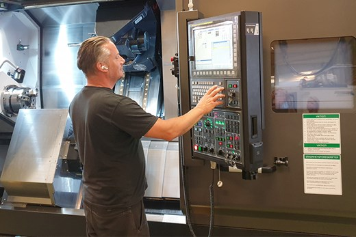 Operator Jan operating his new multi-function lathe